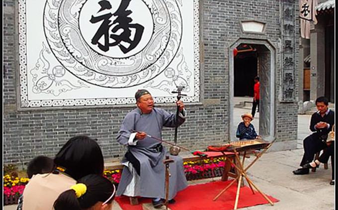 台儿庄古城内文化演出--琴书表演