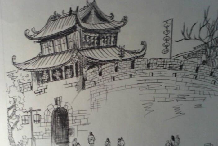 台儿庄古城记忆手绘明信片