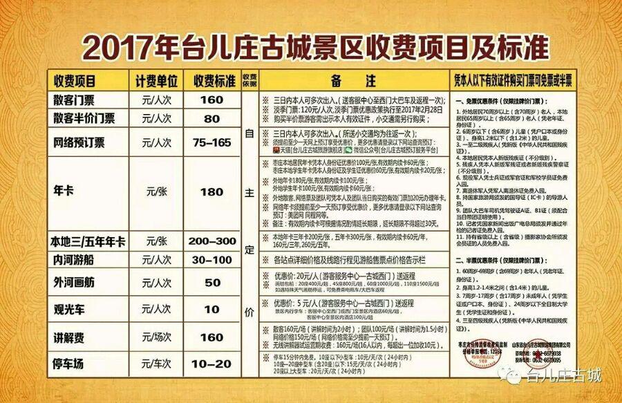 枣庄台儿庄古城门票,2018年枣庄台儿庄古城门票价格